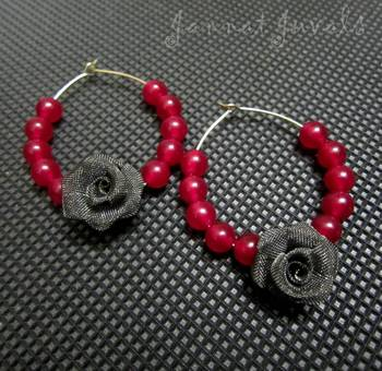 Magenta beaded Flower earrings