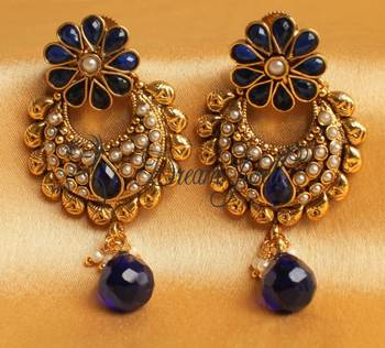 BEAUTIFUL ROYAL BLUE ANTIQUE BALI EARRINGS