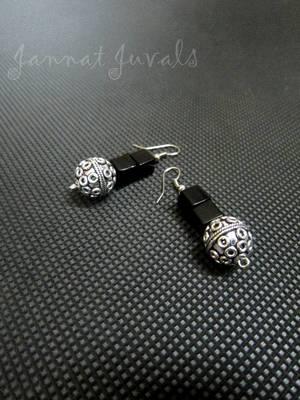 Black and Metallic silver ball earrings