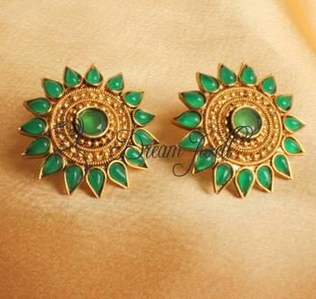 BEAUTIFUL HUGE GREEN ANTIQUE FLORAL EARRINGS