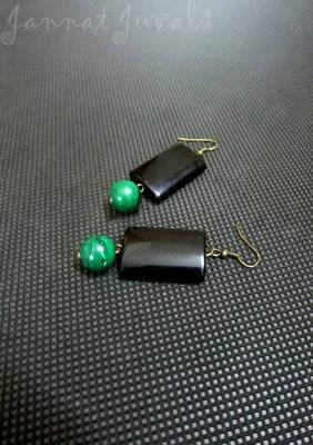 Long Black and Green earrings