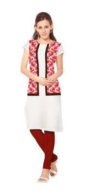 White printed stitched kurti