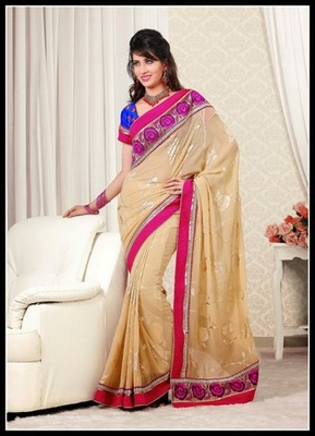 Charming Beige Embroidered Saree