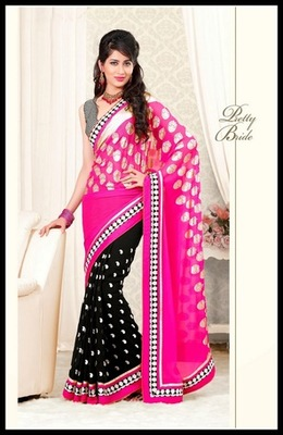 Exquisite Black & Pink Embroidered Saree