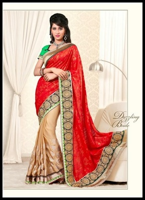 Gorgeous Beige & Red Embroidered Saree