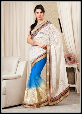 Marvelous Azure Blue & Off White Embroidered Saree