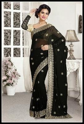 Luscious Black Embroidered Saree