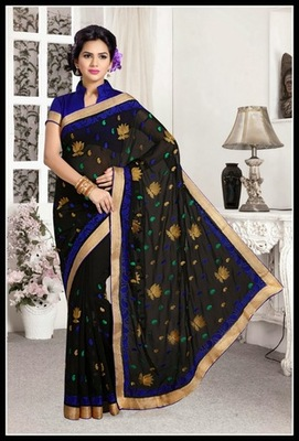Fancy Black Embroidered Saree