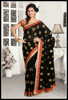 Scintillating Black Embroidered Saree