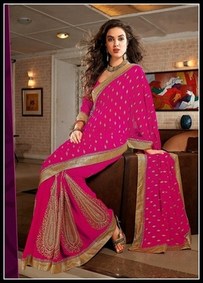 Sparkling Deep Pink Embroidered Saree