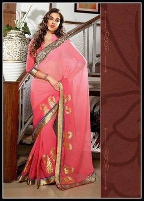 Splendorous Salmon Embroidered Saree