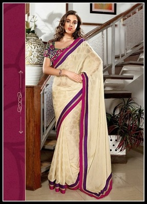 Alluring Cream Embroidered Saree