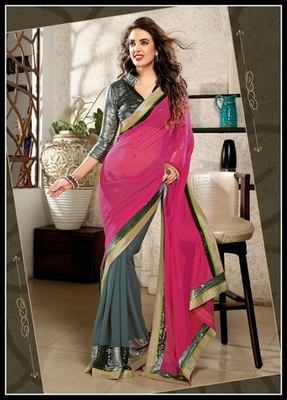 Elegant Ash Gray & Pink Embroidered Saree