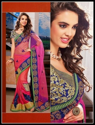 Elegant Bluish Purple, Pink & Tomato Embroidered Saree