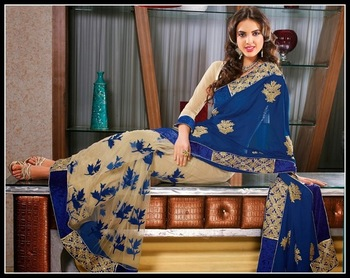 Vivacious Beige & Mystic Blue Embroidered Saree
