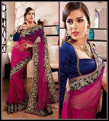 Fancy Magenta Embroidered Saree