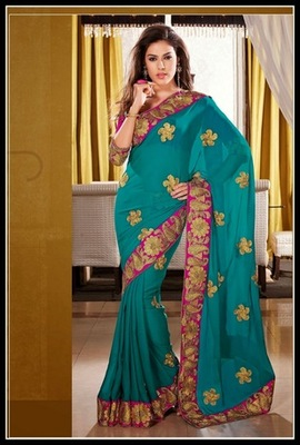 Gleaming Greenish Blue Embroidered Saree