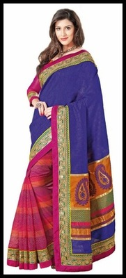 Luscious Deep Orange, Mystic Blue & Pink Embroidered Saree
