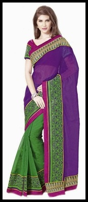 Exotic Deep Purple & Green Embroidered Saree
