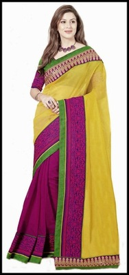 Attractive Magenta & Yellow Embroidered Saree