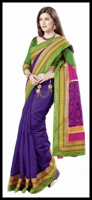 Ethnic Navy Blue & Pink Embroidered Saree