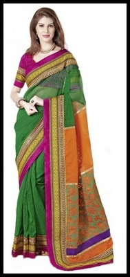 Splendorous Emerald Green & Orange Embroidered Saree