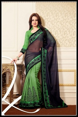Charming Deep Mint Green & Black Embroidered Saree