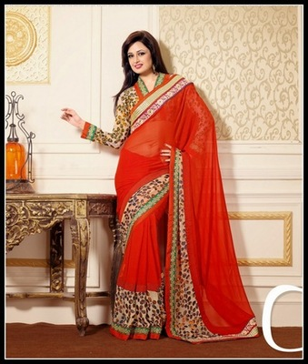 Majesty Coral Embroidered Saree