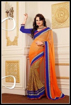Exquisite Beige & Deep Orange Embroidered Saree