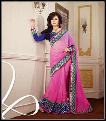 Gorgeous Pink & Royal Blue Embroidered Saree