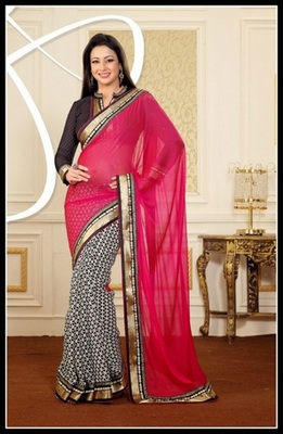 Melodic Black & Fuchsia Embroidered Saree