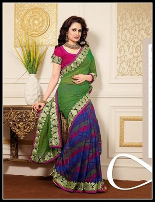 Ravishing Aloe Vera Green, Blue, Fuchsia & Navy Blue Embroidered Saree