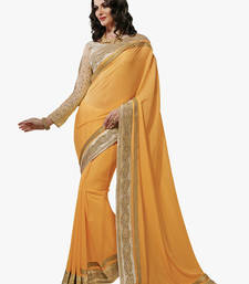 Buy yellow embroidred jute saree with blouse jute-saree online