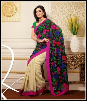 Plushy Black & Buttercream Embroidered Saree