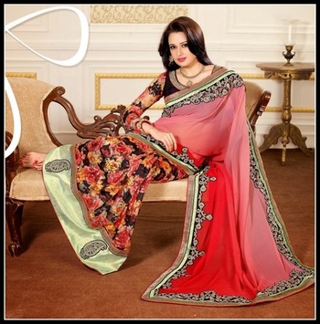 Dazzling Diva Black, Buttercream, Red & Rose Pink Embroidered Saree