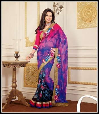 Scintillating Black, Blue & Pink Embroidered Saree