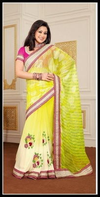 Dazzling Diva Off White & Yellow Embroidered Saree
