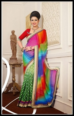 Exquisite Green, Mystic Blue, Pink & Red Embroidered Saree