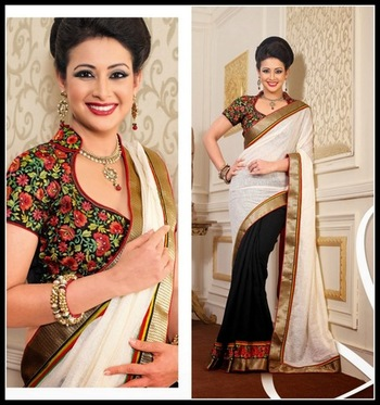 Ethnic Black & Off White Embroidered Saree