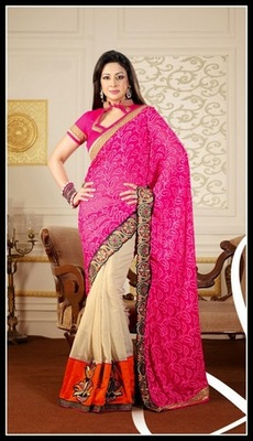 Magnificient Buttercream, Deep Orange & Pink Embroidered Saree