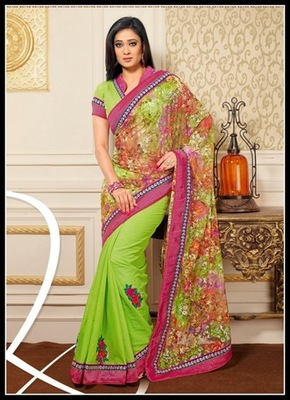 Elegant Deep Honeydew & Pink Embroidered Saree