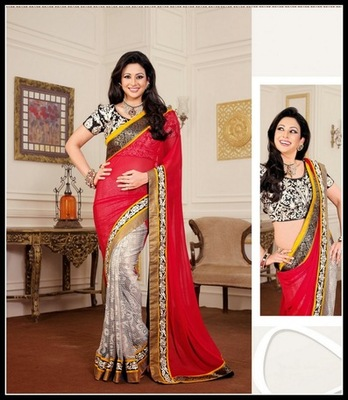 Alluring Black, Off White & Red Embroidered Saree