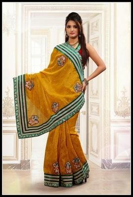 Enigmatic Orange Embroidered Saree