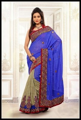 Vivacious Beige & Blue Embroidered Saree