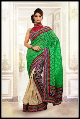 Magnificient Buttercream Embroidered Saree