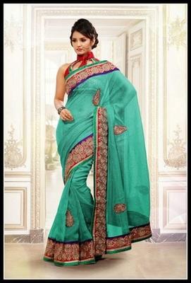 Glamorous Greenish Blue Embroidered Saree