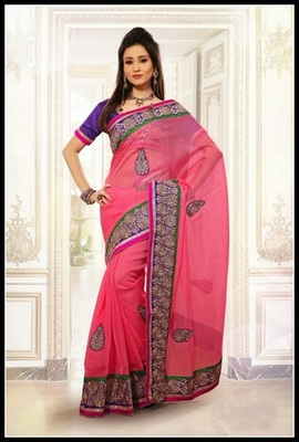 Tranquil Salmon Embroidered Saree