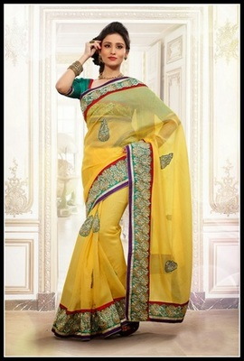 Fancy Yellow Embroidered Saree