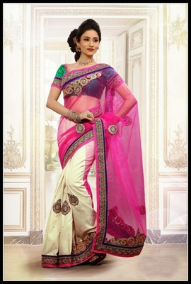 Plushy Buttercream & Pink Embroidered Saree