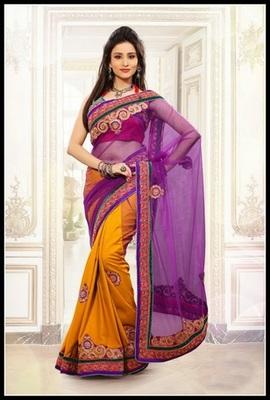 Scintillating Bluish Purple & Orange Embroidered Saree